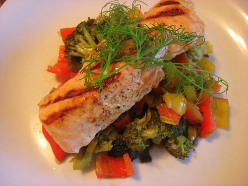 Salmon with veggies