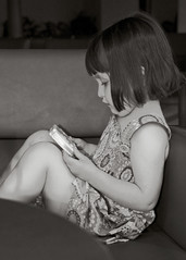 Knees Up (Paul_Murray_TS1) Tags: portrait blackandwhite girl psp kid child sofa knees imogen majorca canpicafort sigma18125mmf3556dc canon400d