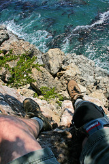 High Altitude Performance Tests Resumed Anew (Beefus) Tags: california selfportrait 6ws boots bigsur ledge montereycounty knee brace pfeiffer flowmaster beefus