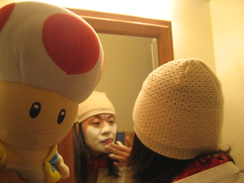 Toad enters the bathroom