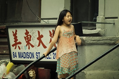 Back Streets of Chinatown: Singing on the Street (ctownjb) Tags: china street new york city nyc urban ny girl asian asia chinatown dress manhattan candid chinese young madison characters gothamist preteen