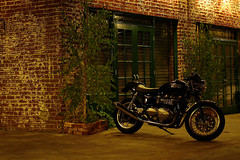 Triumph Bonneville (avilon_music) Tags: california ca nightphotography night la losangeles motorcycles olympus motorbike silverlake triumph motorcycle southerncalifornia bonneville sunsetblvd brickbuildings triumphmotorcycles triumphbonneville englishbikes olympuse510 markpeacockphotography