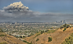 The Burning Hills of Los Angeles - Panorama (Nick  Carlson) Tags: california panorama fire losangeles disaster cumulus hdr mountwilson californiawildfire stationfire nickcarlson truelifeimages