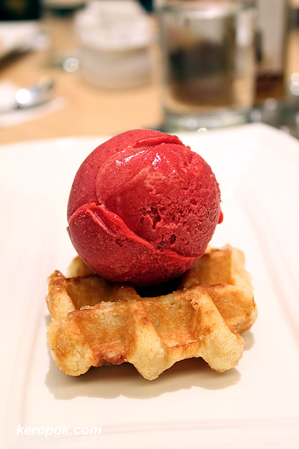 strawberry sorbet with waffle