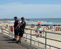New York's Finest, Rockaway Beach Boardwalk, Queens NYC (jag9889) Tags: ocean city nyc blue people ny newyork beach sand waves cops police nypd atlantic queens shore far 2009 department lawenforcement rockaway finest officers firstresponders newyorkcitypolicedepartment y2009 jag9889