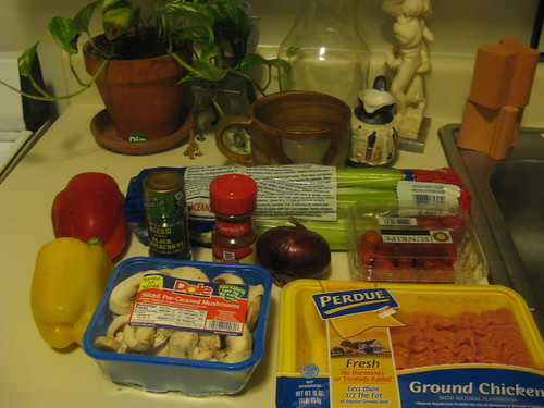 Ingredients for Vegetarian Chili w/ Ground Turkey by you.