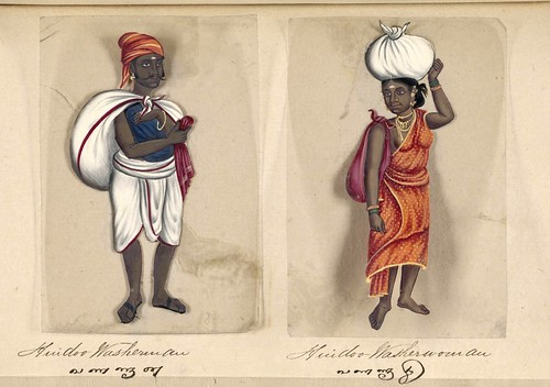 023-Lavandero y lavandera hindúes-Seventy two specimens of castes in India 1837