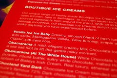 icecreamists menu. (yumyumbubblegum) Tags: pink england food white house london menu funny text selfridges icecream boutique letter vanilla parlour obama flavour obamarama icecreamists