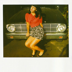 car 2 (Let'sExplode) Tags: red black ford girl car polaroid heels spectra