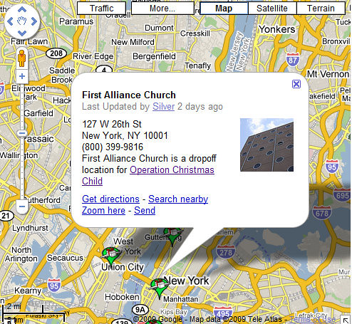 Iglesia de la Primera Alianza - Ubicación de la Operación Niño Navidad en Google Map