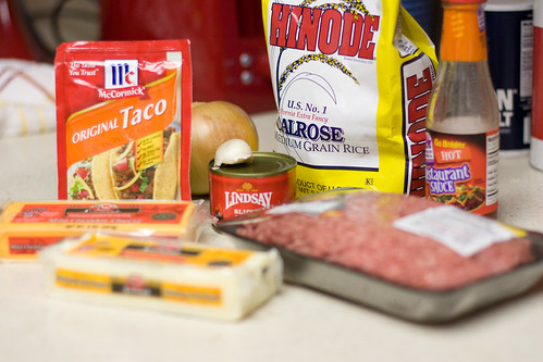Taco Rice & Cheese ingredients