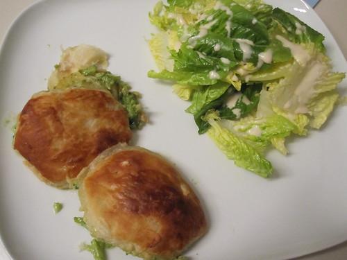 broccoli turnover and a salad at home