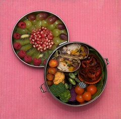 veggie burrito bento (gamene) Tags: pepper tomatoes pomegranate kiwis bento raspberries burrito purplecauliflower purplebeans yellowcauliflower
