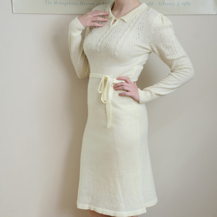 70s Ivory Sweater Dress Never Worn Small Medium
