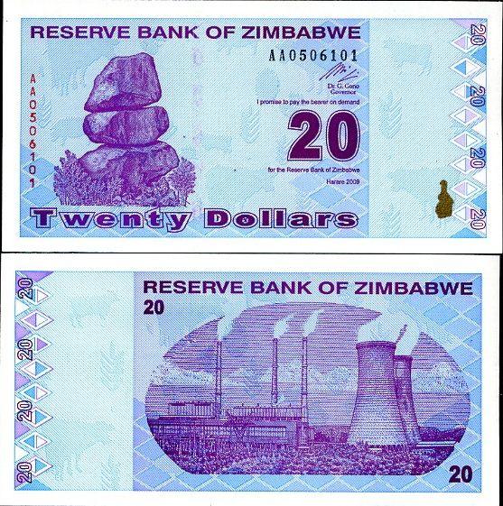 20 dolárov Zimbabwe 2009