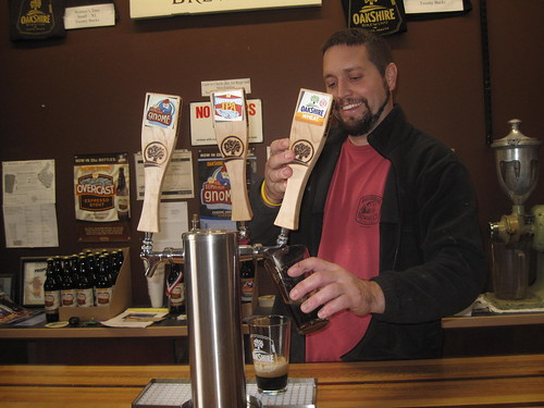 Matt at OakShire pouring some brews