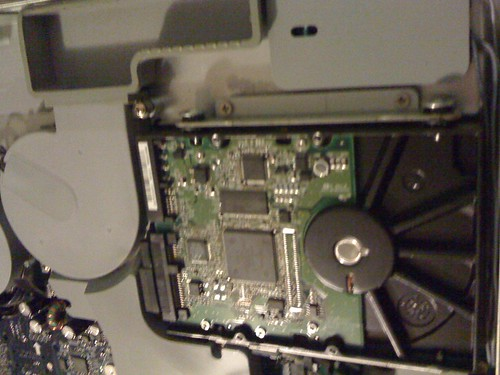 the hard drive, in its bracket
