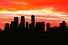 Minneapolis Silhouette Skyline (Doug Wallick) Tags: city morning light urban building minnesota silhouette skyline sunrise square downtown market cities minneapolis twin international wellsfargo picnik ids 33southsixth