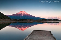Last Light on Mt. Fuji (Phijomo) Tags: mountain reflection nature japan landscape outdoors nikon scenic   mtfuji honshu d80  nikond80 tanukilake phijomo philipjmonahan