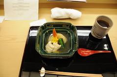Anago (sea eel), turnip, kintoki carrot, mibuna, yuzu. Kikunoi, Kyoto