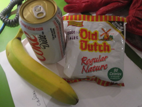 Banan and chips (!) from the bitro, Diet Coke ($1.25)