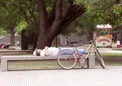 Los efectos de la comida al paso (carlos_ar2000) Tags: street man argentina bicycle bench hotdog calle buenosaires break comida fastfood banco bicicleta siesta rest pancho hombre costanerasur