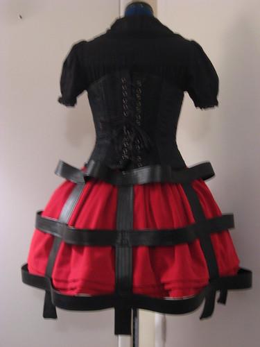 Versatile Velveteen & Vinyl Cage Skirt Set 015