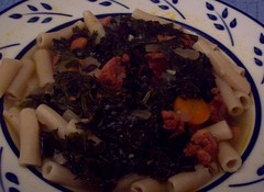 Linguiça and Kale soup over pasta