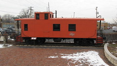 Retired Milwaukee Road caboose on display. Franklin Park Illinois. December 2009.