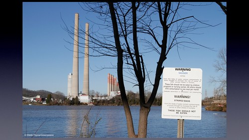 A sign warning of the danger of eating fish from the Clinch River at the Tennessee Valley Authorities Kingston Fossil Plant Thursday, Dec. 10, 2009 in Harriman, Tenn., one year after more than one billion gallons of toxic fly ash spilled from a containment pond at the plant.