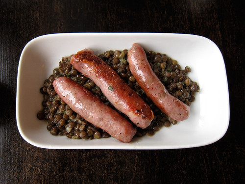 Sausages and lentils