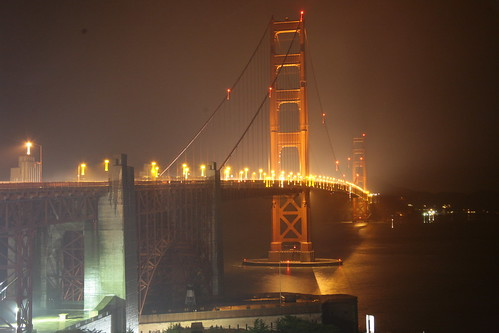 The Golden Gate, on a foggy and rainy night.