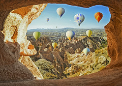(marozn) Tags: turkish kapadokya cappadocia ballooning ride balloon outdoor turkey fly travel freedom many people multicolor transport unesco colorful sunrise transportation tourism aircraft background flight geology hot hill aerial goreme rock holiday valley morning basket aviation ancient nature landscape air mountains balloons ballon baloon nevsehir famous redvalley arch frame