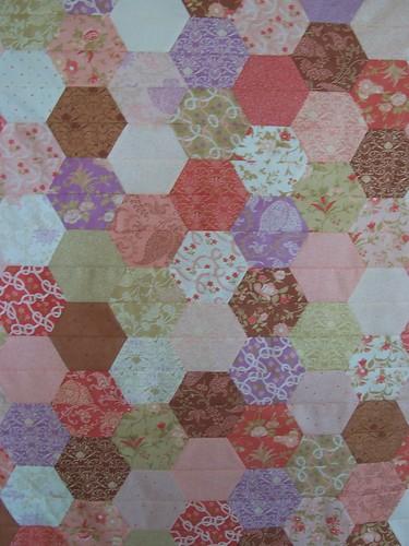 half hex quilt top close up