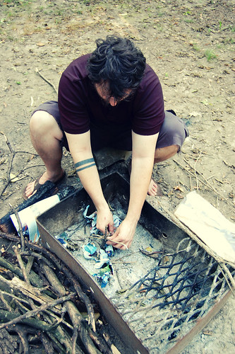 building a teepee to start a fire