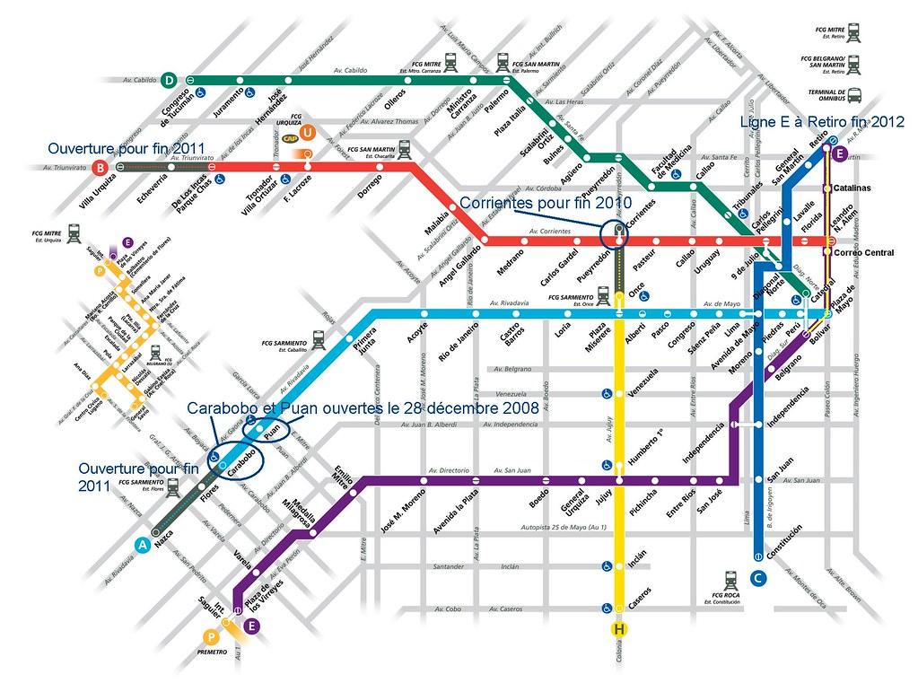 Les extensions du métro de Buenos Aires en cette année 2009. Cliquez pour agrandir !