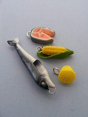 Charms (Shay Aaron) Tags: food fish miniature lemon corn handmade aaron salmon fake mini jewelry charm polymerclay fimo tiny faux shay cob pendant geekery jewel petit shayaaron wearablefood