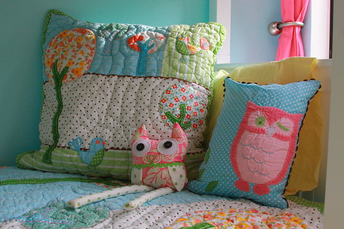 Owl softie on bed
