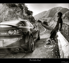 the endless road (kennymuz) Tags: road portrait bw mountain selfportrait canon mirror jay view rear north twist canyon chou destiny winding curve mazda rx8 hdr endless 450d  kennymuz roadtonorth