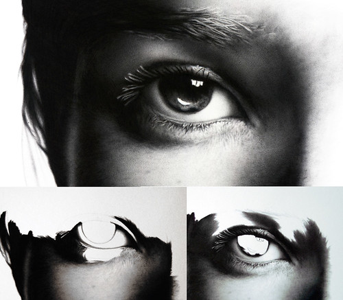kate moss eye, three stages, biro drawing