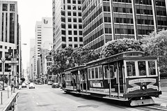 Market Street (Candice, AKA Bessie Smith) Tags: sanfrancisco street bw cars buildings blackwhite cablecar marketstreet silverefex