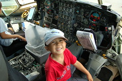 Owen in the cockpit of a HC-130 Hercules