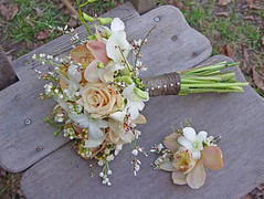 Bride bouquet and groom boutonniere by TheWildOrchid