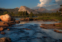 Lembert Dome (SheldonBranford (RichGreenePhotography.com)) Tags: california travel trees sunset summer sky usa mountains reflection silhouette clouds river nationalpark afternoon sundown sunny boulder valley dome yosemitenationalpark sierranevada tuolumnemeadows lembertdome tuolumneriver mtdana 0278 nikond200 0276 0277 richgreenephotography
