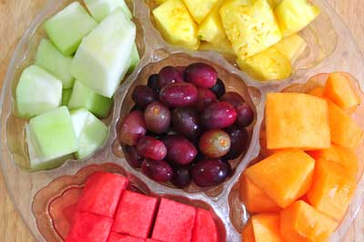 prepared platter of fruit for fruit salad