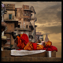 A Dreamer Among the Humblest (designldg) Tags: travel red sky people india man yellow mystery square evening colours faith religion dream culture atmosphere panasonic human fabric soul ethereal devotion varanasi turban wisdom spiritual shanti shiva hindu dharma hinduism kashi ganga sadhu ganges ghats benares benaras uttarpradesh  corporeal indiasong sdhu dmcfz18