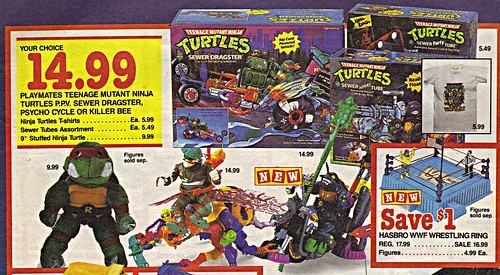 "Children's Palace - ""GRAND OPENING, All Stores Celebrate"" { Colorado Springs C.P. }  Sunday Newspaper supplement .. pg.3 // TMNT selection (( October 28,1990 ))"