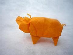 Pig from birdbase (mitanei) Tags: animals pig origami mitanei origamipig origamischwein keepfoldingon