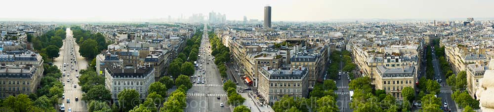 View from top of Arc De Triomphe @ Paris, France