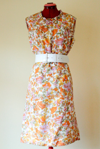 VINTAGE 70s Pink floral MOD WIGGLE SHIFT DRESS frilly neck M L - 1